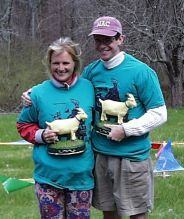 the winners, wearing blue goat shirts and holding yellow goat trophies